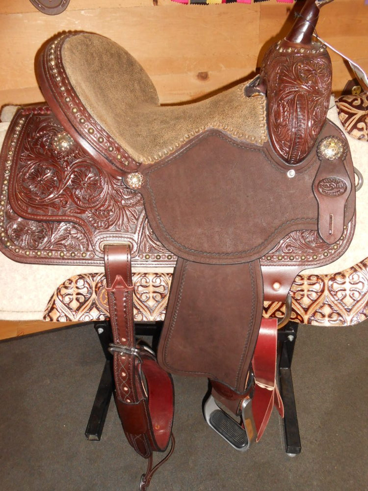 "SOLD! Reinsman SP4265-14"" Wide Fit Molly Powell Vintage Cowgirl Barrel Racing Saddle"